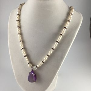 Freshwater Pearls and Purple Druzy stone necklace